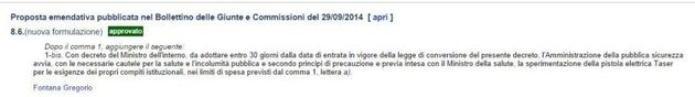 Via libera alla pistola Taser per la polizia. Approvato l'emendamento di Forza Italia. Il governo: