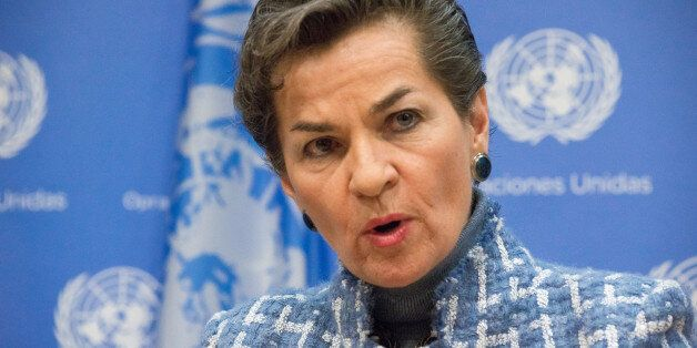 UNITED NATIONS HEADQUARTERS, NEW YORK, NY, UNITED STATES - 2016/01/27: Christiana Figueres briefs the press. In conjunction w