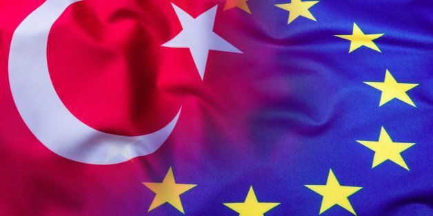 Flags of the Turkey and the European Union. Turkey Flag and EU Flag. World flag concept.