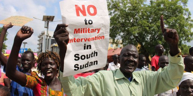 Hundreds of South Sudanese protest in Juba, South Sudan against Foreign military intervention Wednesday July 20, 2016 (AP Pho