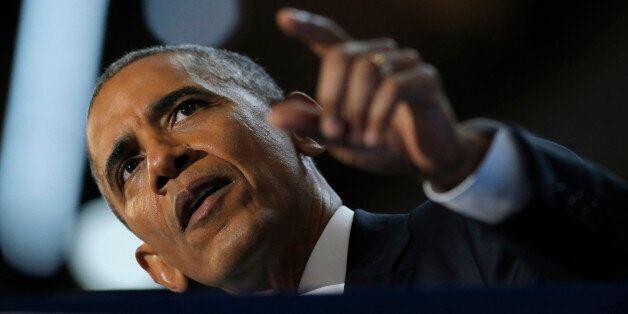 U.S. President Barack Obama speaks on the third night of the 2016 Democratic National Convention in Philadelphia, Pennsylvani