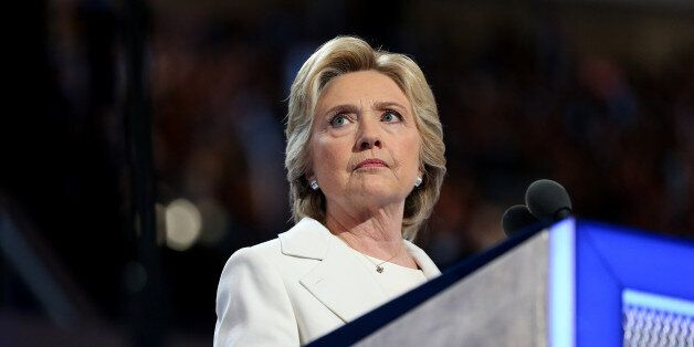 Hillary Clinton, 2016 Democratic presidential nominee, pauses while speaking during the Democratic National Convention (DNC)