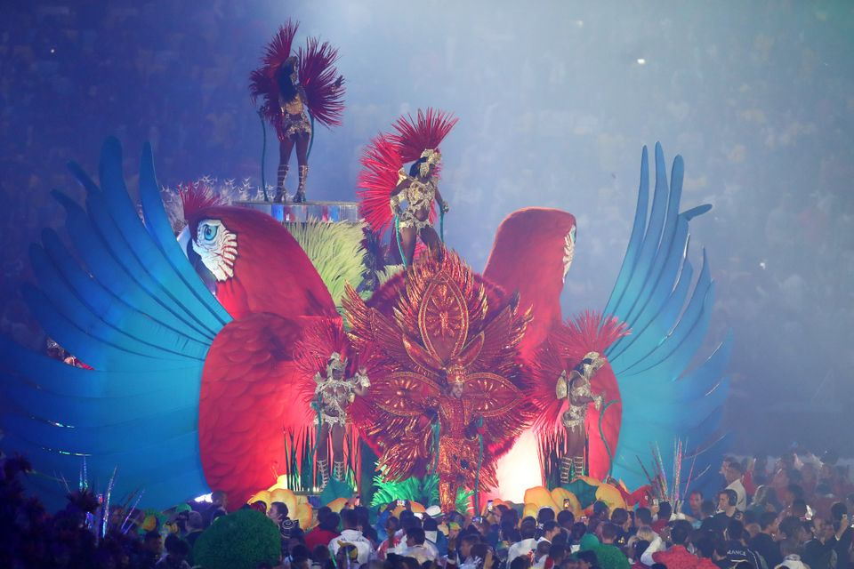 August 21, 2016: Samba dancers perform on a float in the 'Cidade Maravilhosa' portion of the Closing Ceremony.
