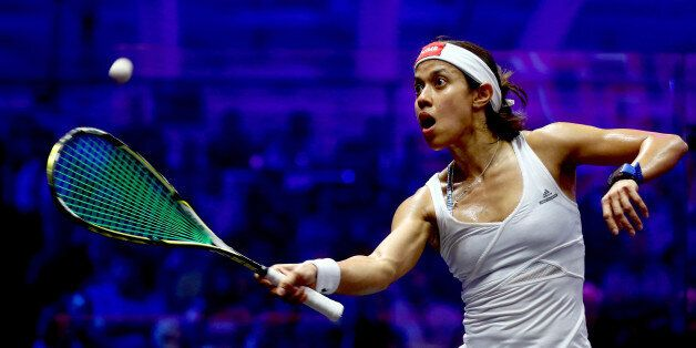DUBAI, UNITED ARAB EMIRATES - MAY 27:  Nicol David of Malaysia compete against Raneem El Welily of Egypt during day four of t