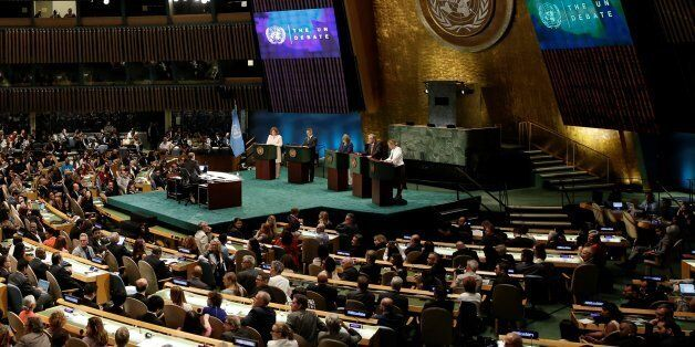 Candidates vying to be the next United Nations Secretary General debate in the General Assembly at U.N. headquarters in Manha