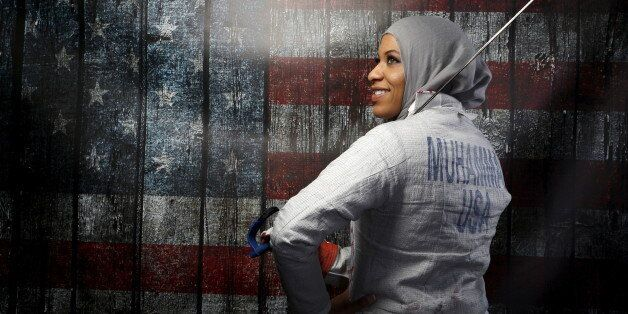 U.S. Olympic team fencer Ibtihaj Muhammad poses for a portrait at the U.S. Olympic Committee Media Summit in Beverly Hills, L