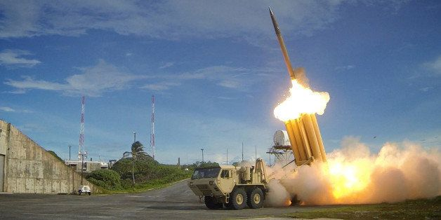 A Terminal High Altitude Area Defense (THAAD) interceptor is launched during a successful intercept test, in this undated han