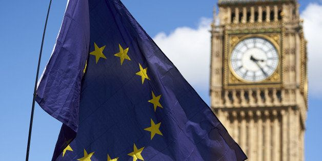 A European flag is flown in front of The Elizabeth Tower which houses the 'Big Ben' bell in the Palace of Westminster, as tho