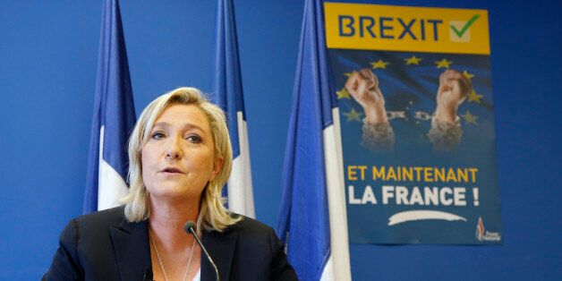 Marine Le Pen, France's far-right National Front political party leader, speaks during a news conference at the FN party head