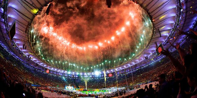 Pyrotechnics erupt during the closing ceremony in the Maracana stadium at the 2016 Summer Olympics in Rio de Janeiro, Brazil,