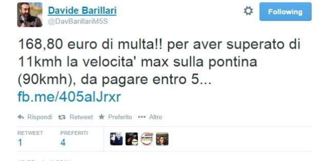 Davide Barillari M5S e la multa per eccesso di velocità: