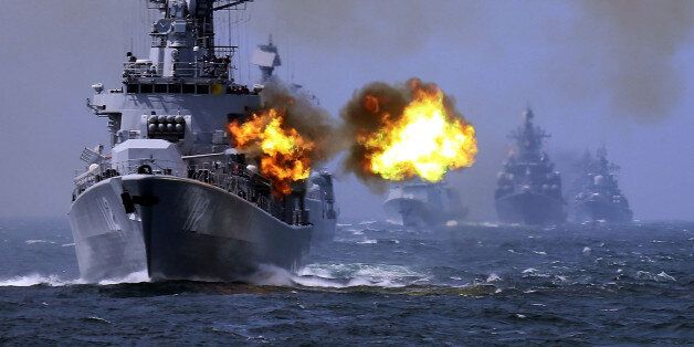 """In this May 24, 2014 photo, China's Harbin (112) guided missile destroyer takes part in a week-long China-Russia """"Joint Sea-2"""