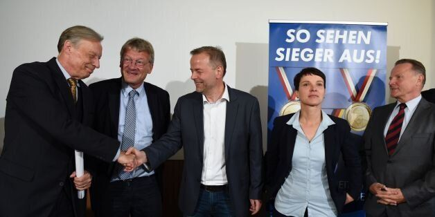 (L to R)Chair of 'Alternative for Germany' (AFD) in Lower Saxony Armin Paul Hampel, co-leader of AFD Joerg Meuthen, top candi