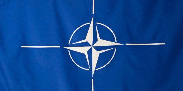 North Atlantic Treaty Organization flag, white compass rose emblem in blue background