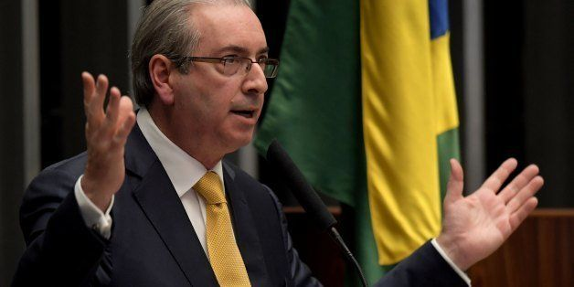 Former Lower House President Eduardo Cunha delivers a speech during session of the Chamber of Deputies that decides the revoc