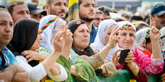 COLOGNE, GERMANY - SEPTEMBER 03: Expatriate Kurds living in Germany attend a rally to protest against Turkish President Recep