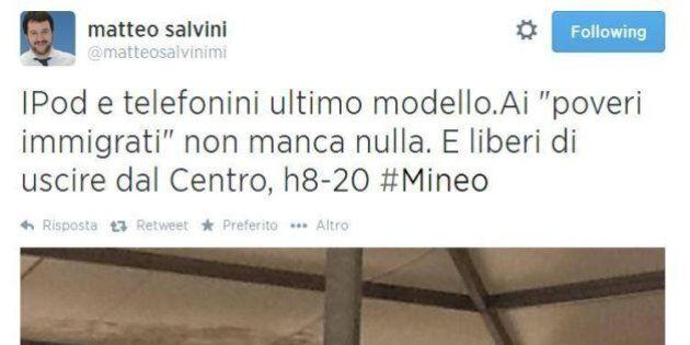 Matteo Salvini al Cara di Mineo, reportage su twitter: