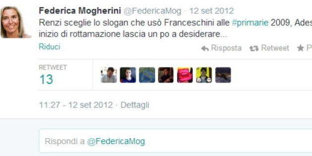 Federica Mogherini ministro, quando su twitter scriveva di Matteo Renzi: