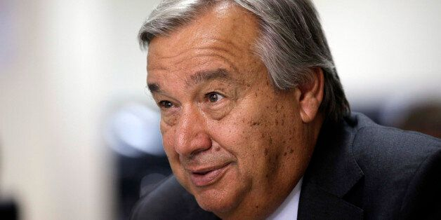 United Nations High Commissioner for Refugees António Guterres speaks during an interview with the Associated Press in the h
