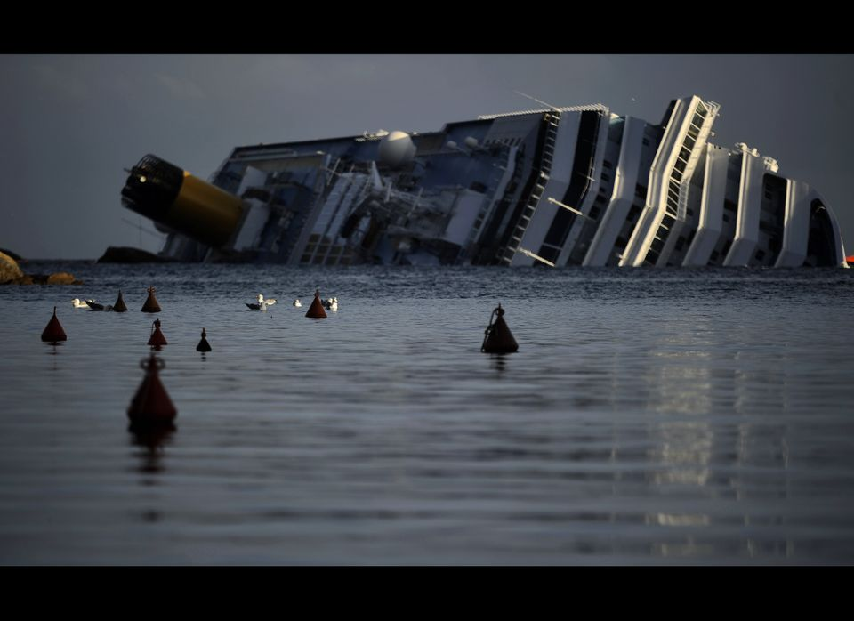 A view of the stricken luxury liner Costa Concordia off the Isola del Giglio on January 22, 2012. Italian rescuers again susp