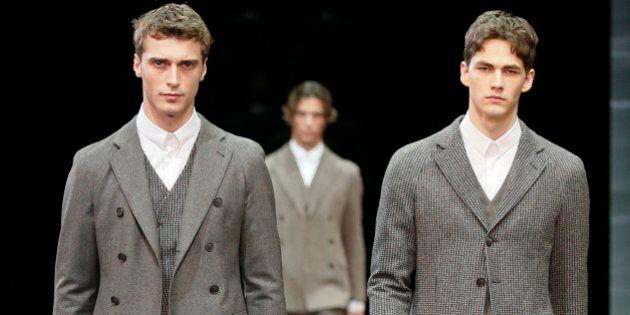 Milano moda uomo inverno 2014-2015. Armani presenta le giacche, sempre più cardigan