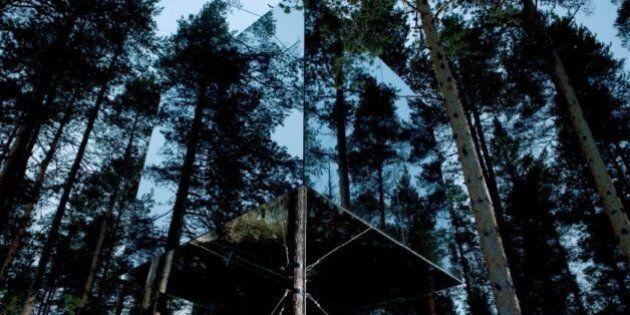 Mirror Cube, la casa di specchi sull'albero del TreeHotel per rendersi invisibile al mondo
