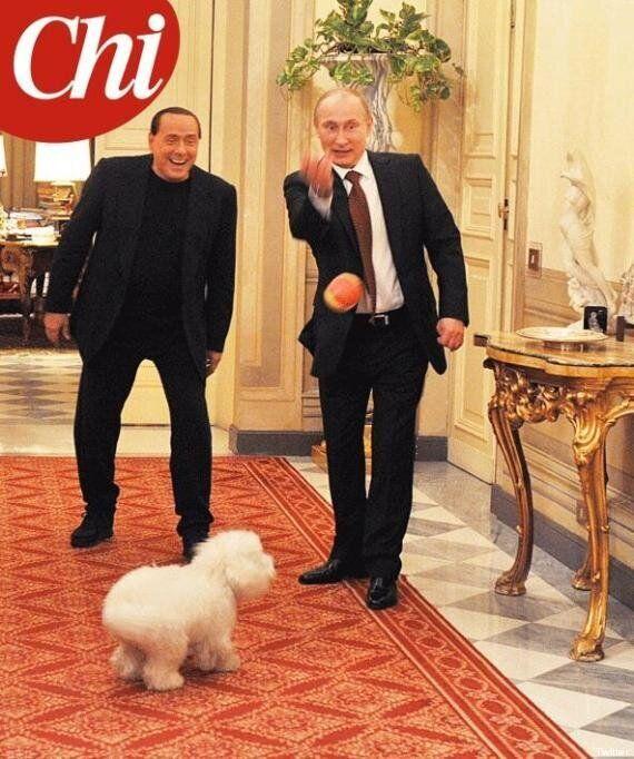 Dudù sulla copertina di Chi con Silvio Berlusconi e Vladimir