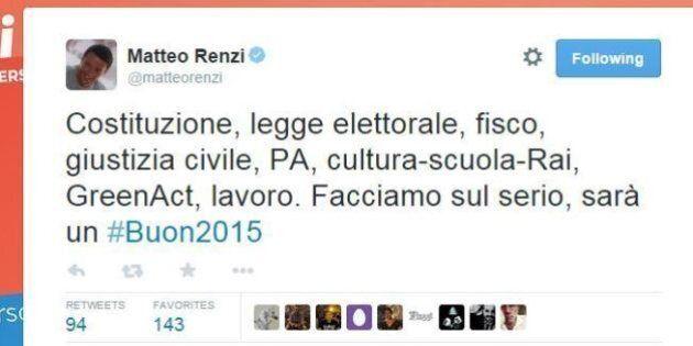 Matteo Renzi: tasse, riforme, Alitalia e caos vigili urbani a Roma. I tweet di inizio anno con l'hashtag