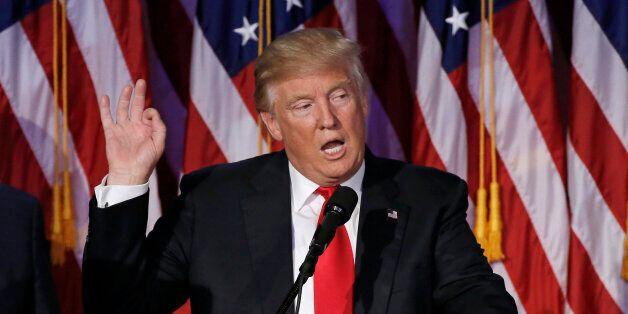 U.S. President elect Donald Trump speaks at election night rally in Manhattan, New York, U.S., November 9, 2016.  REUTERS/Mik