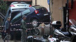 Anche l'auto blindata del cardinal Bagnasco colpita dall'alluvione: scivola e sfonda il muro della
