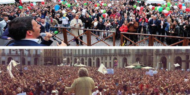 Elezioni europee 2014, Beppe Grillo e Matteo Renzi si sfidano a distanza. La piazza torna al centro