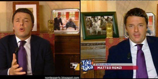 Matteo Renzi cambia le foto sullo sfondo nei programmi Tv. E al posto di Napolitano arriva Nelson