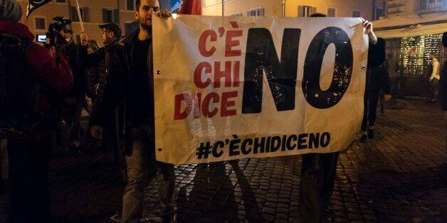 People take to the streets in Rome, Italy, on 5 December 2016 after the results of the italian constitutional...