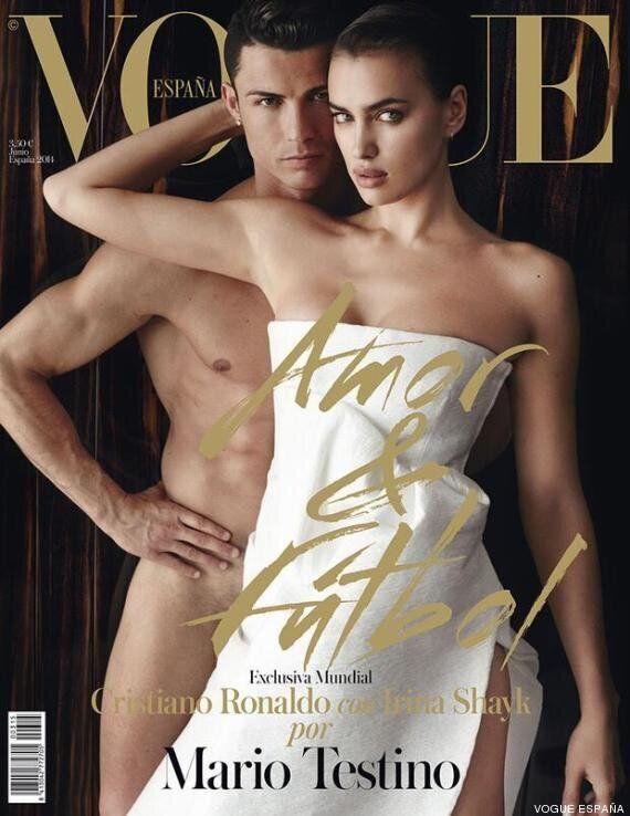 Cristiano Ronaldo nudo sulla copertina di Vogue insieme alla fidanzata Irina Shayk. Sotto la scritta:...