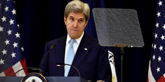 U.S. Secretary of State John Kerry delivers remarks on Middle East peace at the Department of State in Washington December 28