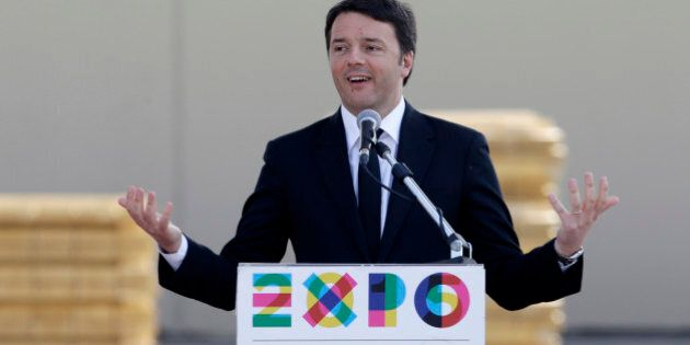 Italian Premier Matteo Renzi delivers his speech on the occasion of his visit at the Expo site in Rho,...