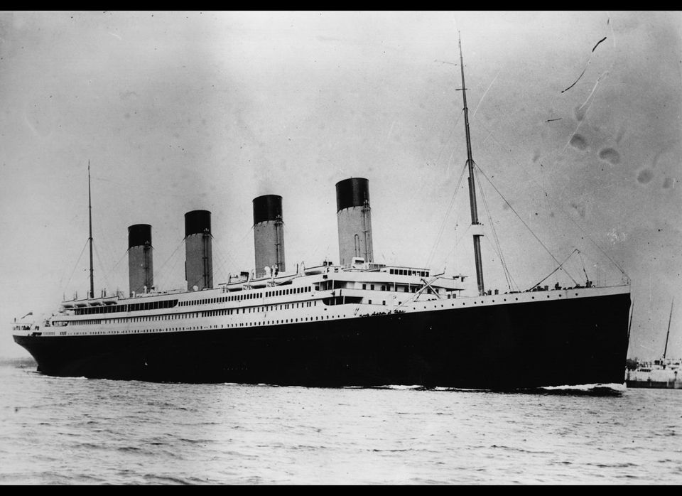 The ill-fated White Star liner RMS Titanic, which struck an iceberg and sank on her maiden voyage across the Atlantic.