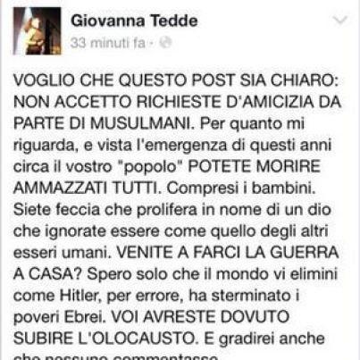 Giovanna Tedde, Assessore di Bonorva posta messaggio choc su Fb: