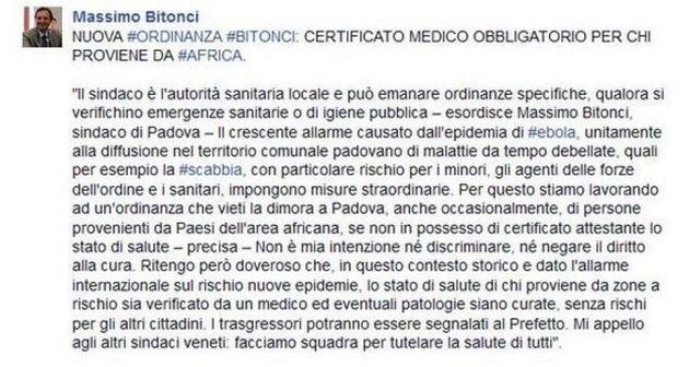 Ebola, Padova vuole vietare la dimora agli africani senza certificato di buona salute