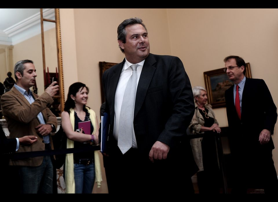 Leader of the 'Independent Greeks,' Panos Kammenos arrives for a political party leaders meeting at the Presidential Palace i