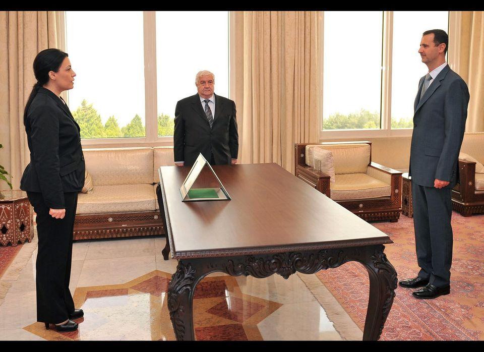 Syria's ambassador to France Lamia Shakkour (L) was declared persona non grata. However, Paris was unable to immediately expe