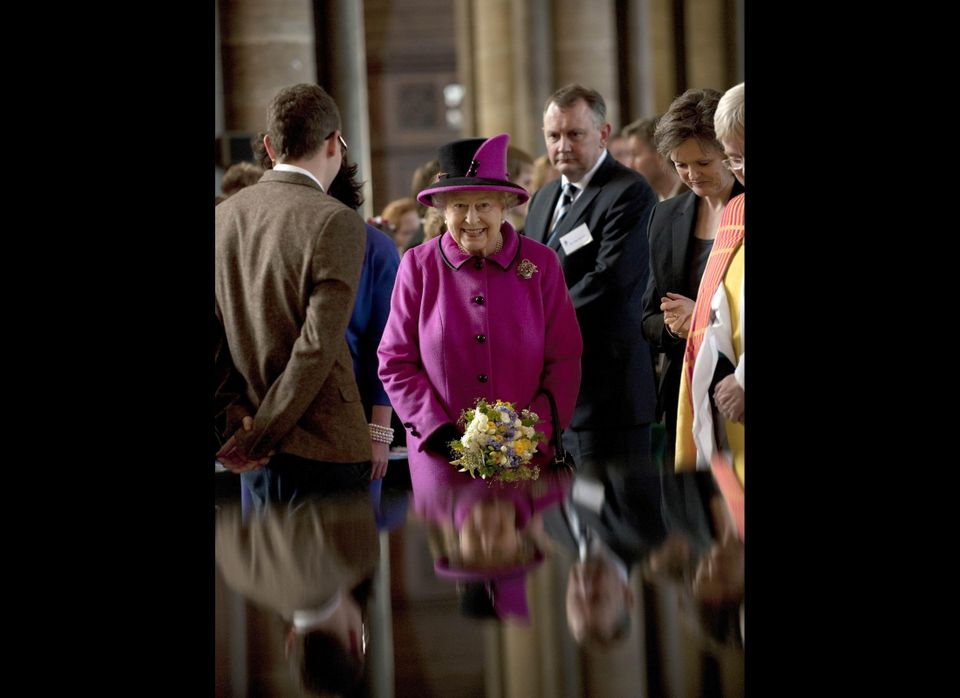 Queen Elizabeth II greets well-wishers as she takes a walkabout inside Salisbury Cathedral in Salisbury, as part of a two day