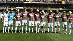 Ternana-Livorno: al derby dell'acciaio umbri in campo con caschi gialli delle acciaierie in