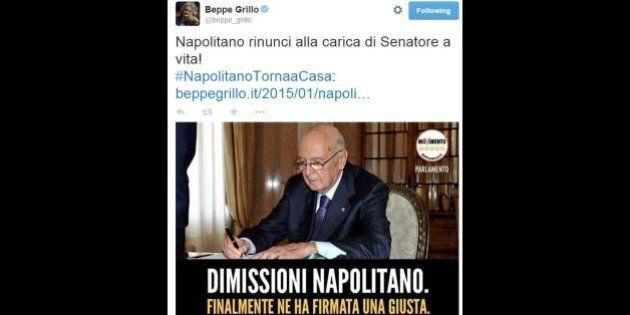 #GraziePresidente, su twitter i ringraziamenti a Giorgio Napolitano. Il M5S lo attacca: