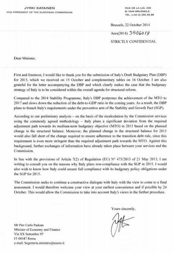 Legge di stabilità, arriva la lettera della Ue: