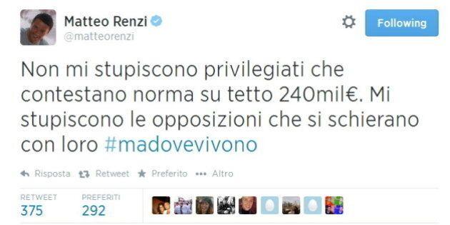 Tetto agli stipendi, Matteo Renzi su twitter: