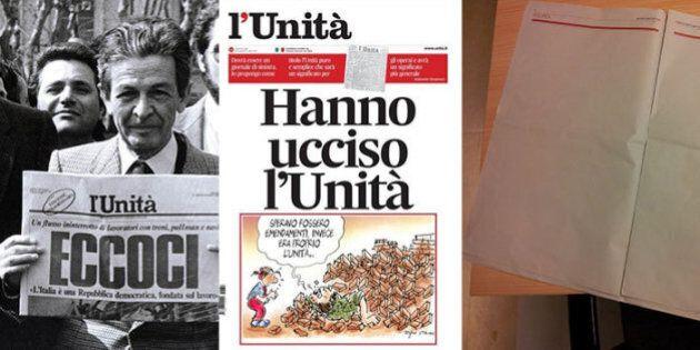 L'Unità chiude, stop alle pubblicazioni dall'1 agosto. Il giornale in edicola con le pagine bianche....