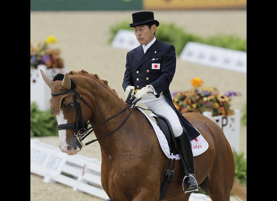 Hiroshi Hoketsu with his horse, Whisper. (AP)