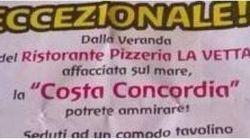 Il ristorante pubblicizza la vista sulla Concordia