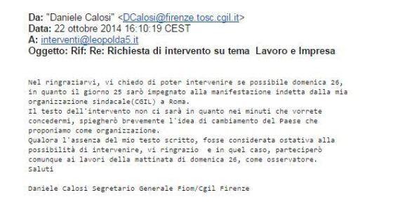 Leopolda5, scoppia il caso. Daniele Calosi della Fiom non parla più:
